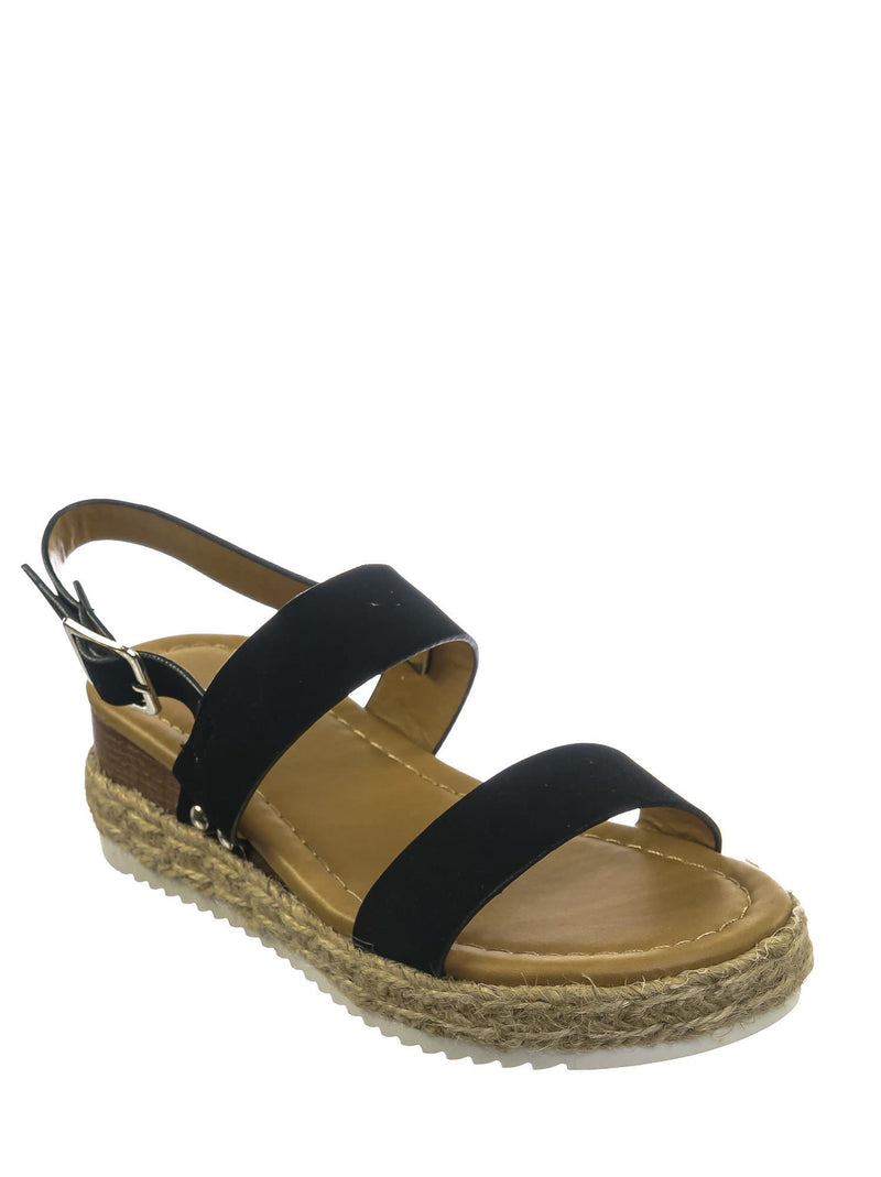 Black Nubuck / Sensational2K Black Nubuck Children Espadrille Flatform Sandal - Girl Kids Open Toe Platforms