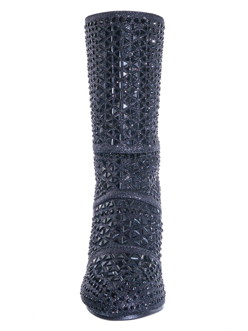 Black Metallic / Event99K Kids Tall Rhinestone Crystal Glitter Boots - Girl Shimmering Dress Shoe
