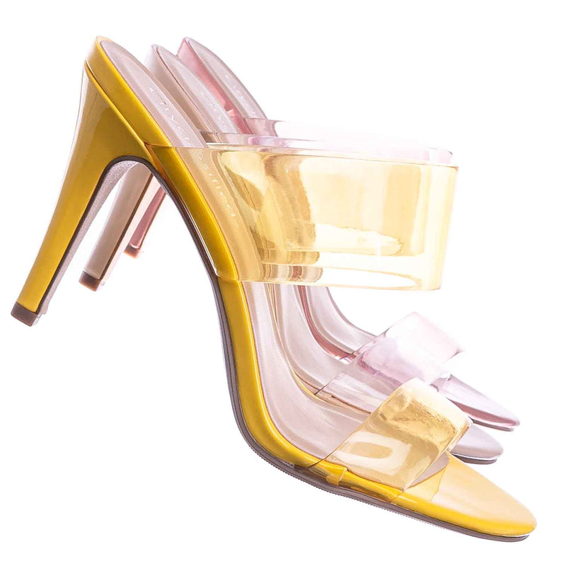 Yellow / Lisa Clear Lucite Glass High Heel Slipper - Women Vinyl Slip On Mule Sandal