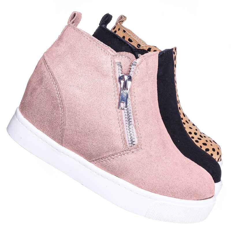 Taylor2 Childrens Athleisure Hidden Wedge Sneaker - Girls High Top Loafer Shoes