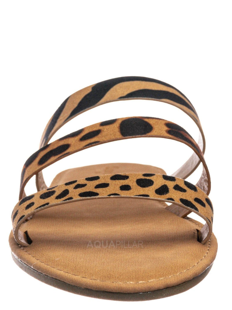 Cheetah Multi / Waterfront70 3 Strap Open Toe Slide In Sandal - Women Color Block Slippers