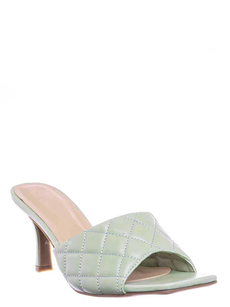 Mint Green / Bora66 High Quilted Mule - Womens Slide In Diamon Puffy Slipper