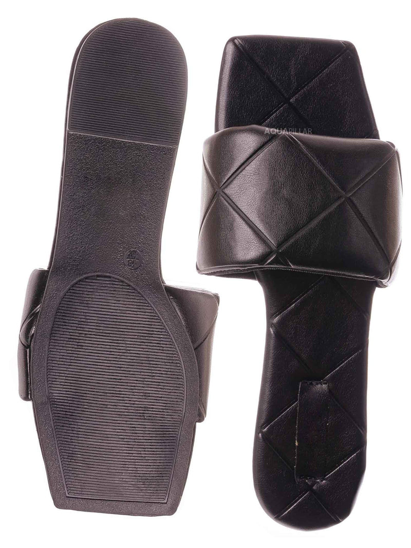 Black / Block22 Quilted Flat Slipper Sandal - Womens Open Square Toe Slides