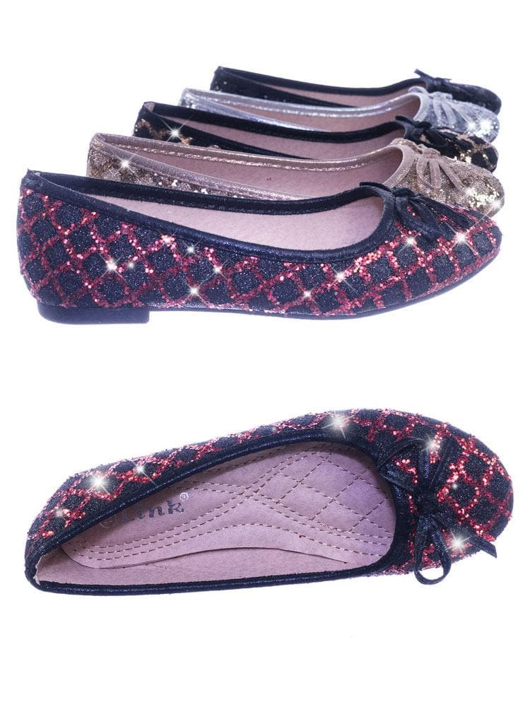 Karra46 Red Black Children Girls Fancy Round Toe Ballet Flat w Criss Cross Glitter