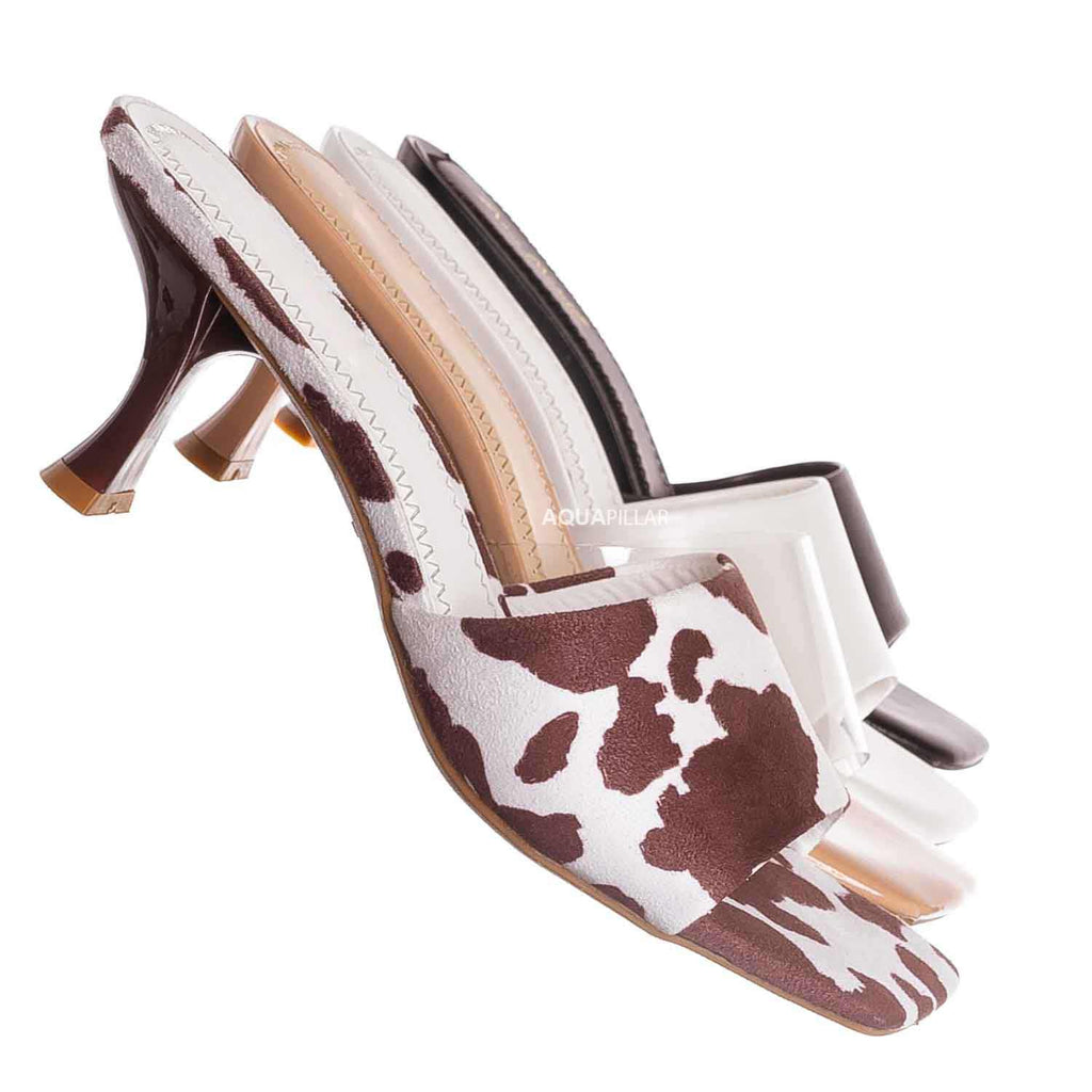 Cow Print / Align03 Square Toe Slide In Mule - Women High Heel Slipper Cow Vinyl