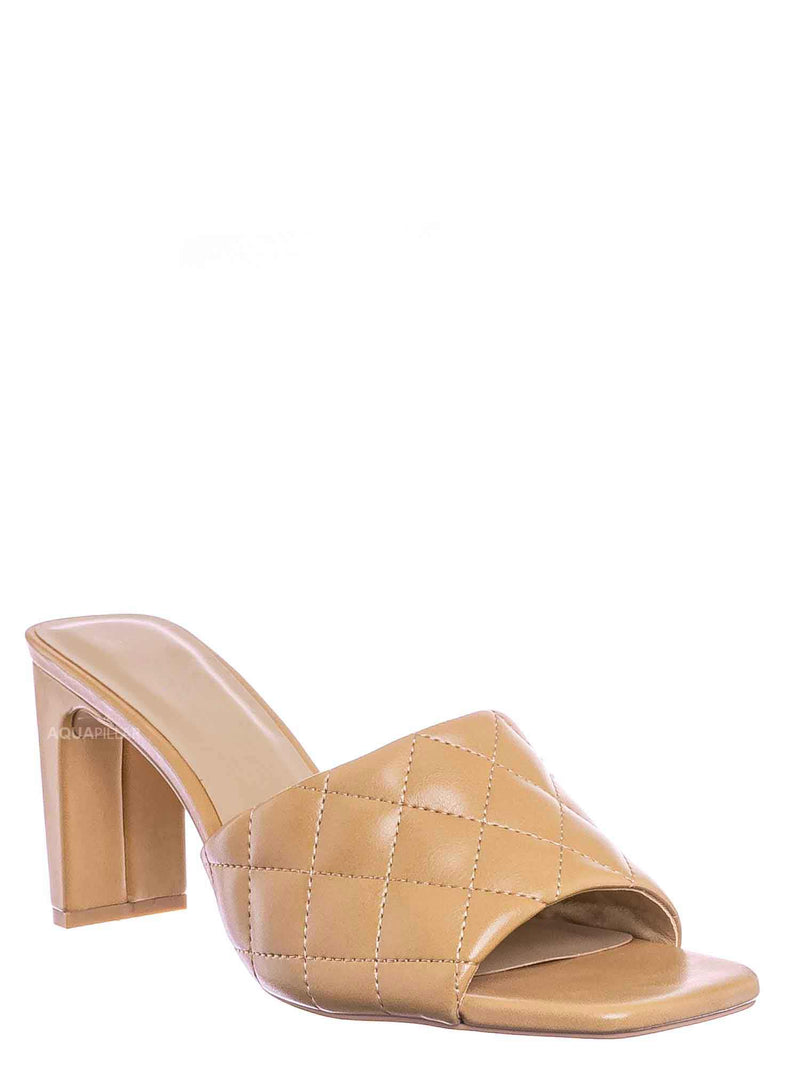 Natural Beige / Jitter Slim Block Heel Quilted Mule - Womens Thin Flat Heel w Open Squared Toe