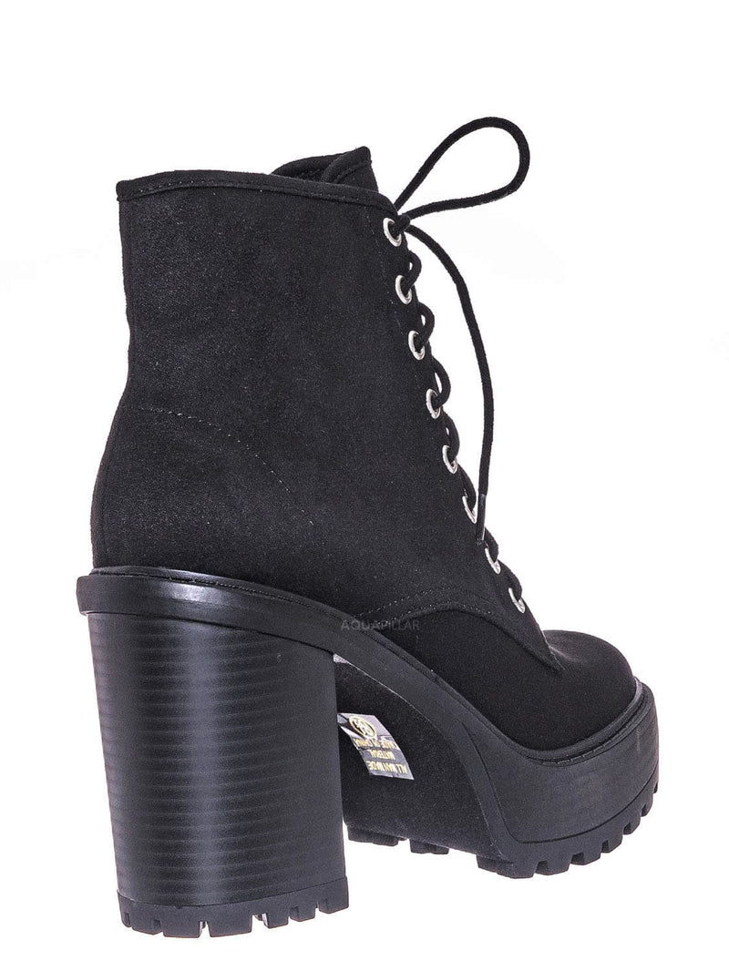 Black Isu / Volume High Heel Combat Boots - Lace Up Military Threaded Shoes