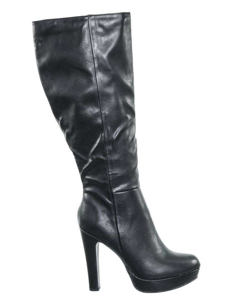 Rhythm Black Pu Knee High Dress Boots - Women Thick High Over Knee Heel Platform