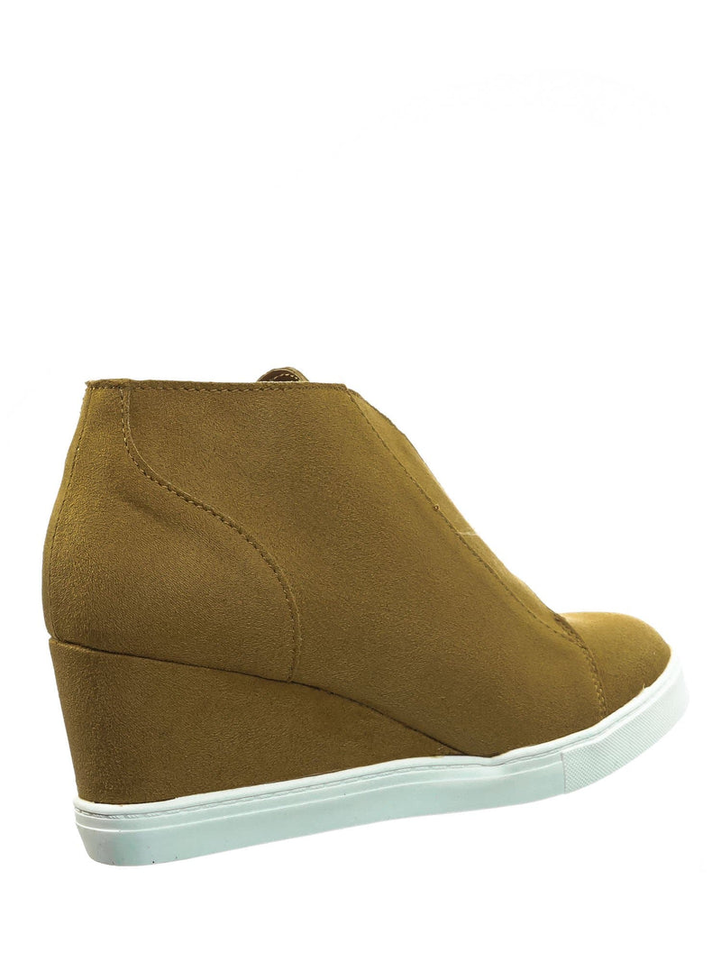 Chamoise Yellow / Vesper Chamoise Yellow Hidden Wedge Heel Sneakers - Women Sporty Elastic Shootie