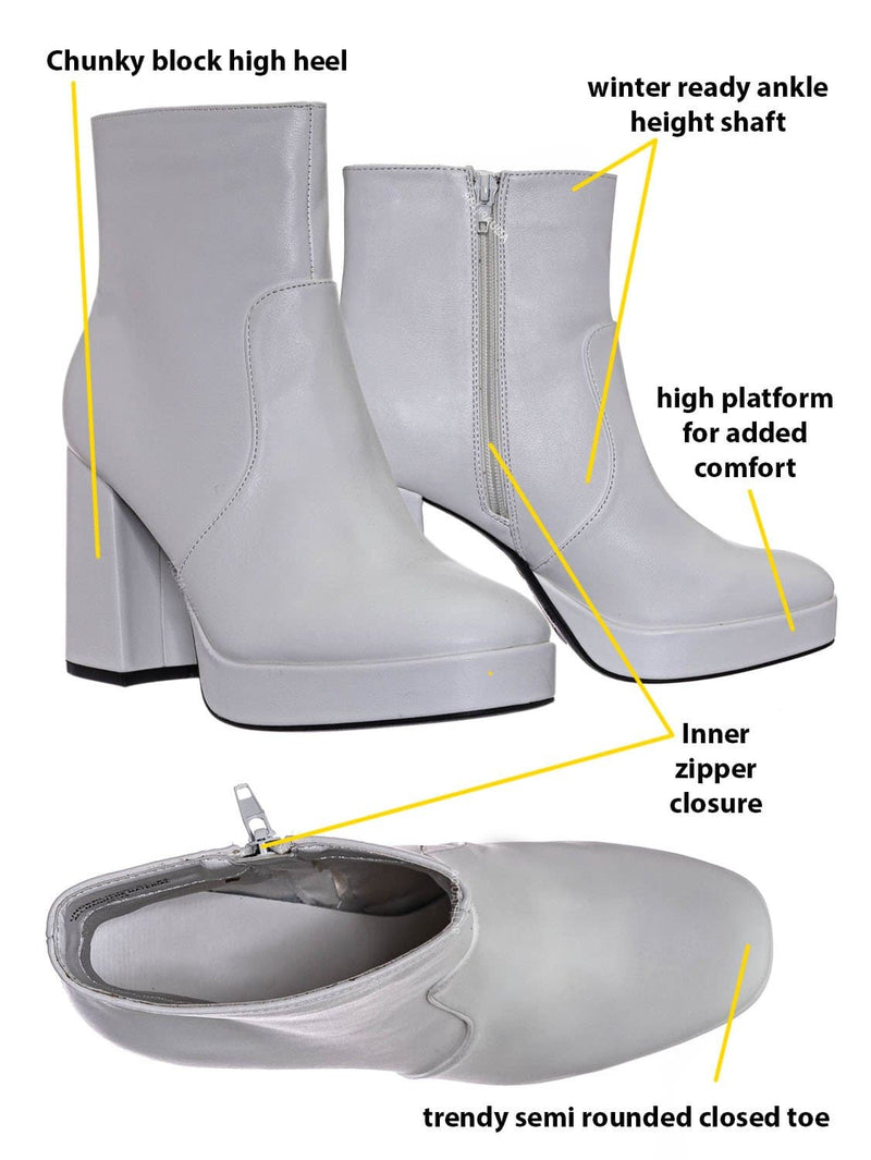 White Crp / Underlined01 Platform Block Heel Bootie - Women Croc & Suede Ankle Pump Boot