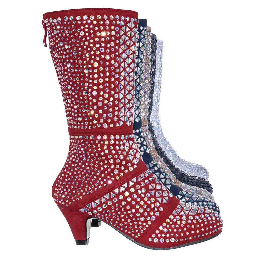Red / Event99K Kids Tall Rhinestone Crystal Glitter Boots - Girl Shimmering Dress Shoe