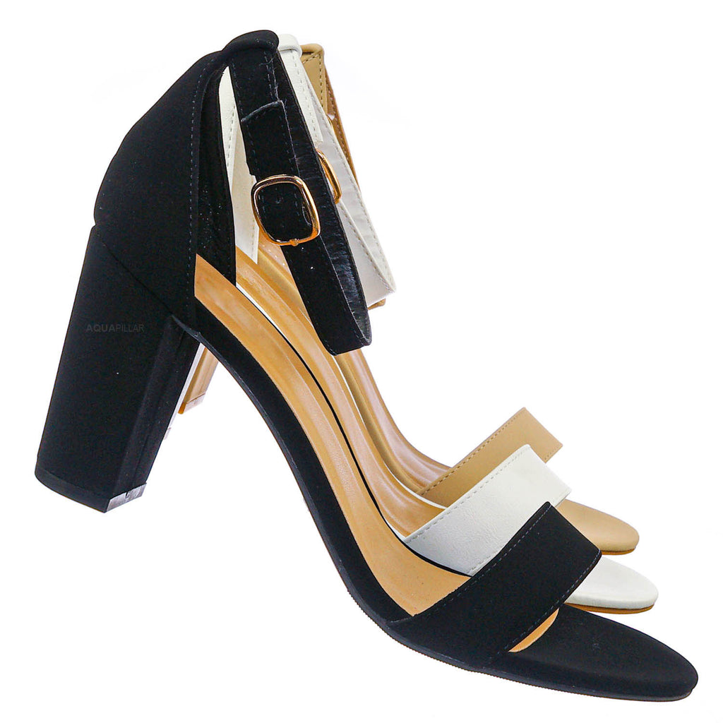 Striking01 Retro Chunky Block Heel Sandal - Womens Open Toe Two Piece Dress Shoe