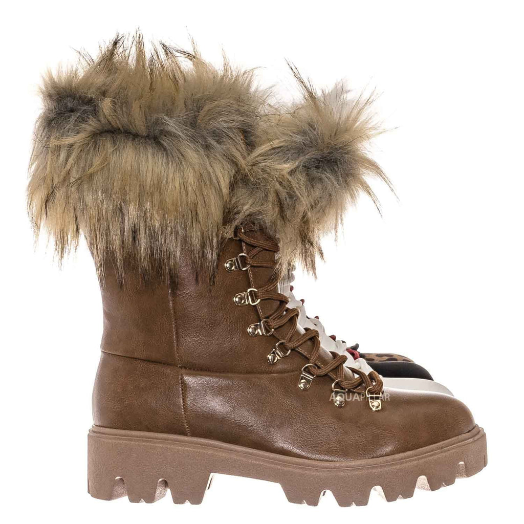 White Nubuck / Force11 Faux Fur Combat Boots - Fluffy Military Vegan Furry Shoes