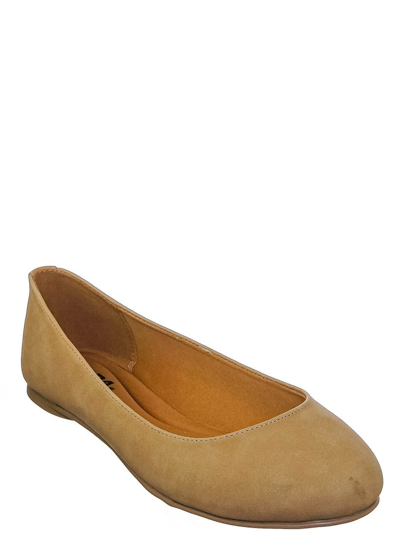 Natural Nubuck / Kreme Foam Padded Round Toe Ballet Flat - Womens Ballerina Loafer Shoes