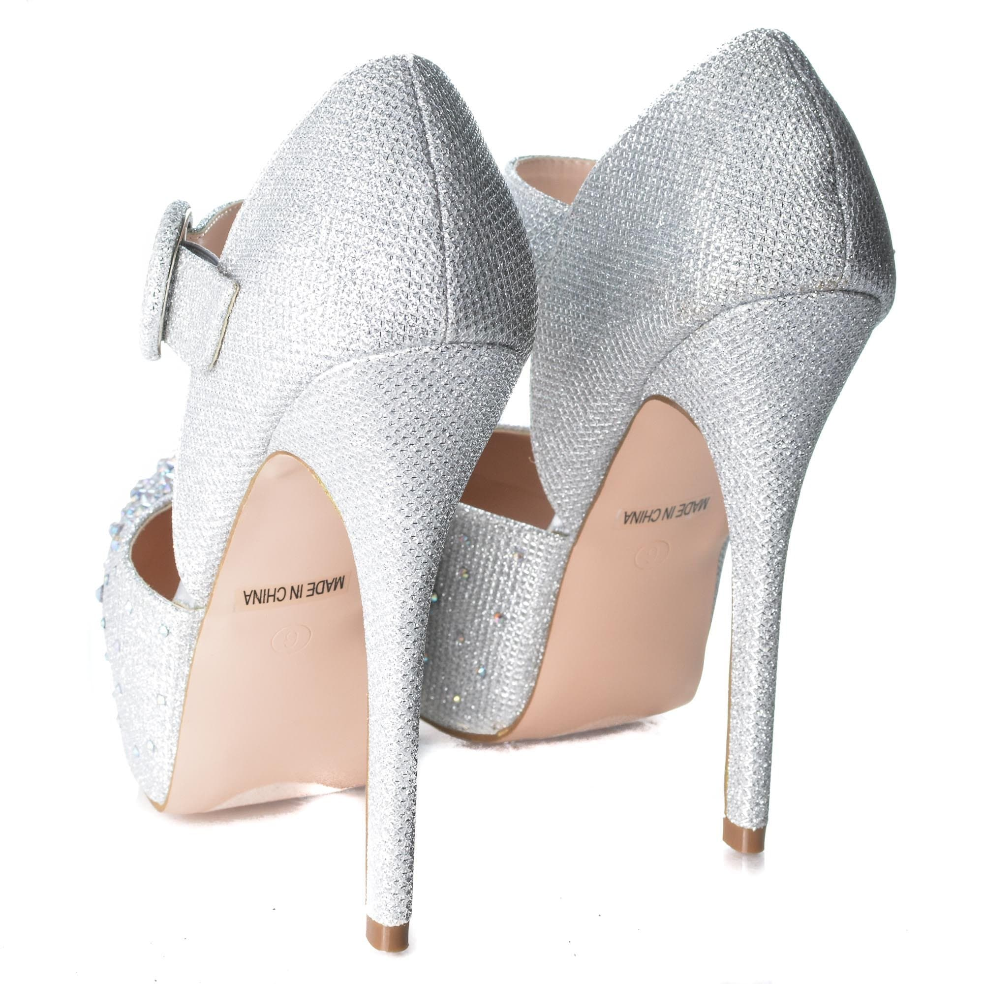 Kinko7 By De Blossom, Dress Rhinestone Studded Pointed Toe Mary Jane Platform Pump Heels