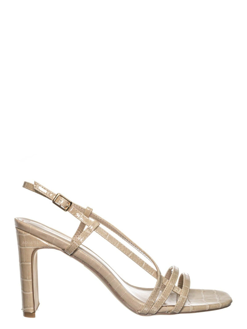 Nude Beige / Kaiya1 Barely There Flat Block Heel Sandal - Open Squared Toe Animal Croc Print
