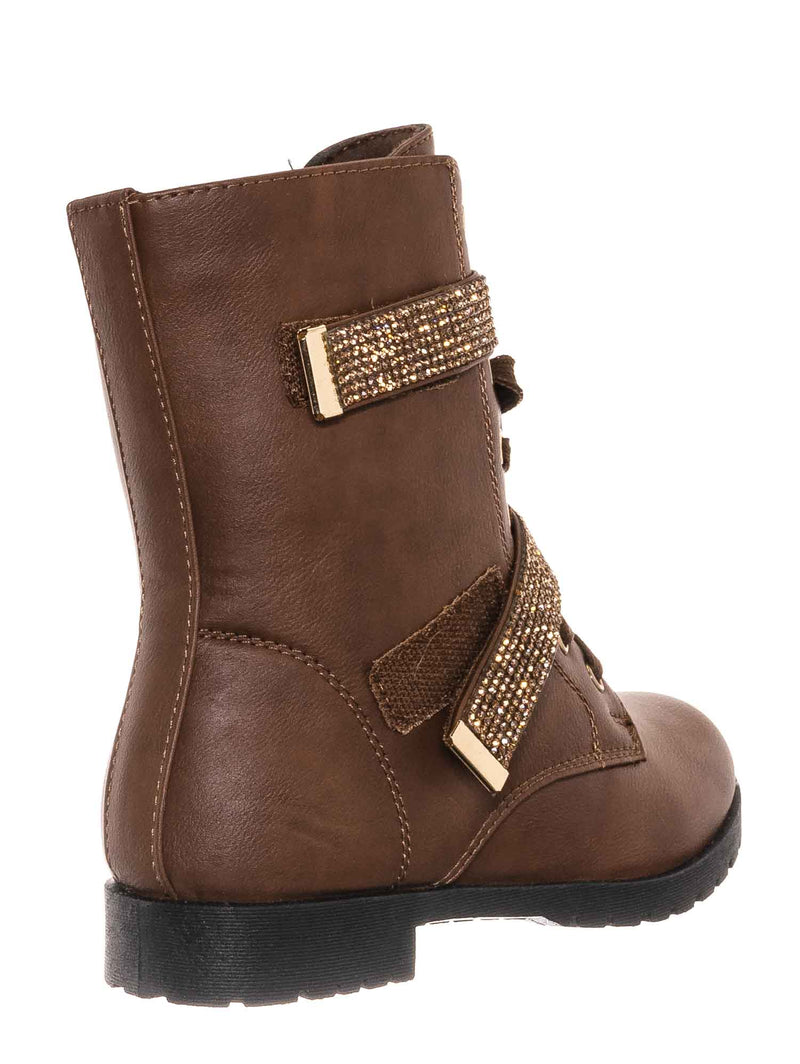 Tan Brown / Moto52K Children's Rhinestone Combat Moto Boots