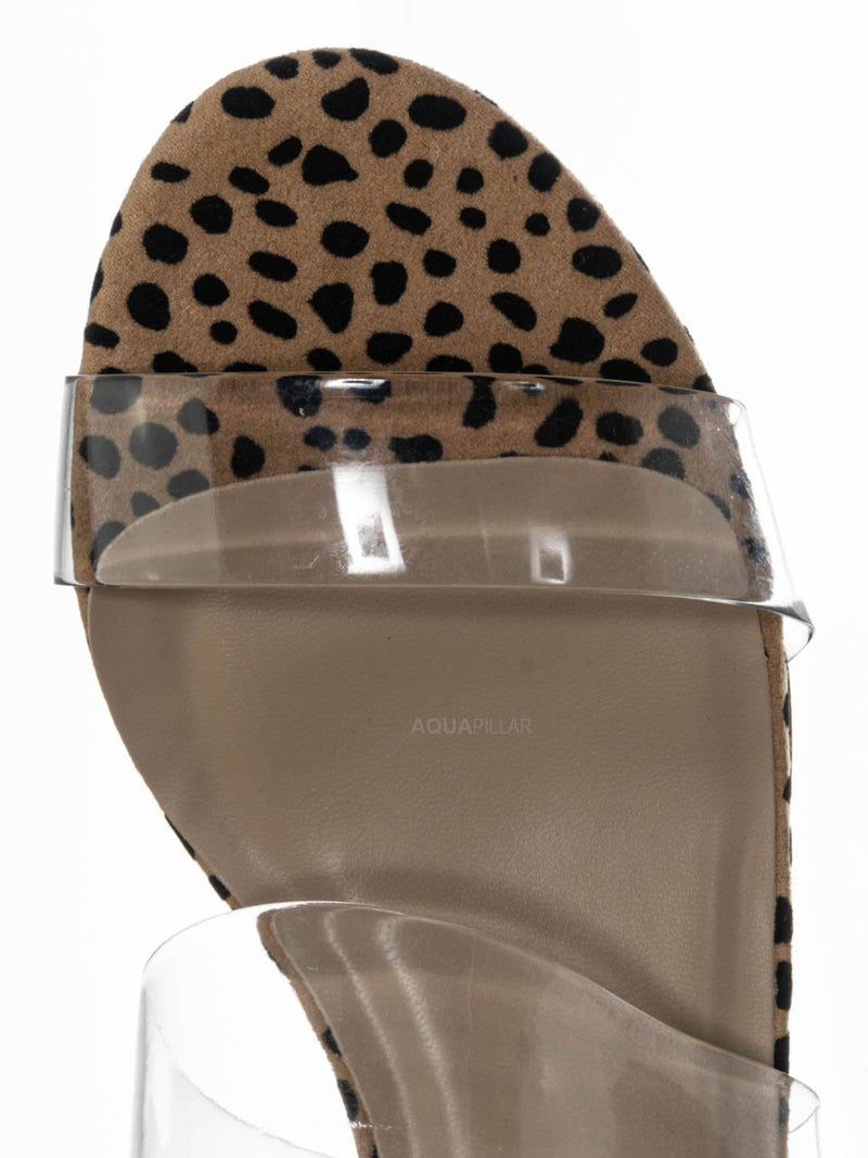 Cheetah Clear / Soap Transparent Block Heel Mule - 90s Retro Lucite Clear Twin Strap Slides