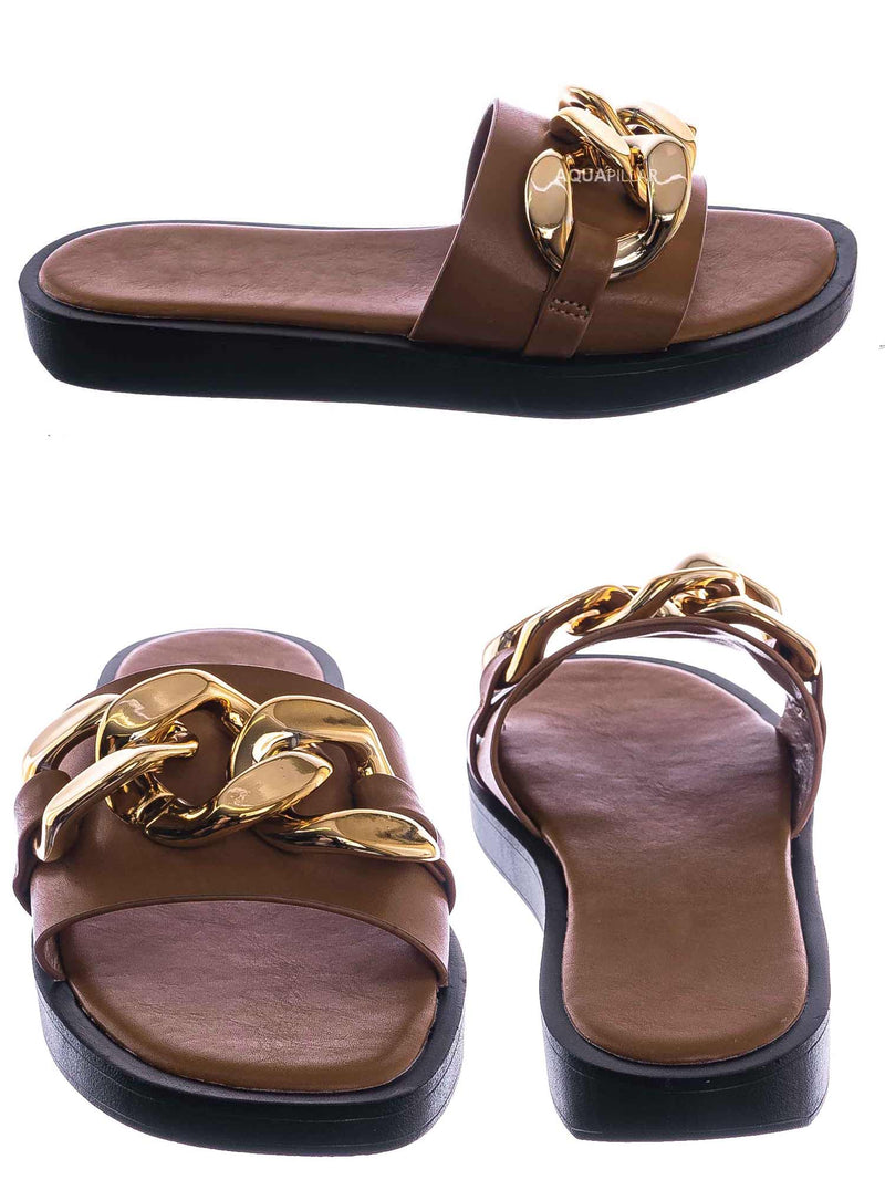 Tan Brown / SideKick11 Padded Flatform Slpper w Oversize Chain - Womens Molded Footbed Slide