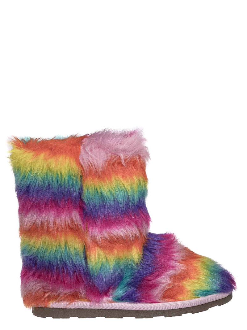 11 Long Rainbow Fur / Alice Colorful Faux Fur Mukluks - Rainbow Winter Fluffy Slipper Boots