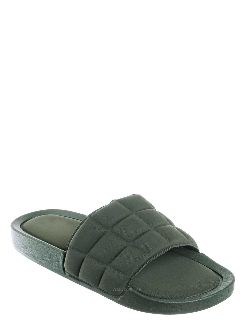 Olive Green / Comex16 Boho Quilted Padded Sandal - Women Slide Molded Footbed Slipper Sandal