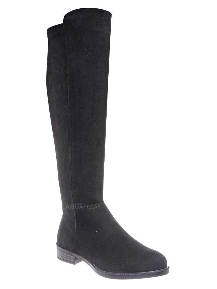 Black All Suede / Sector08 Duo Fabric Knee High Riding Boots