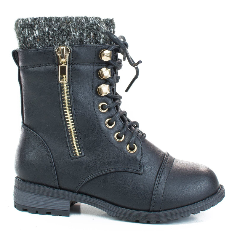 Black / Mango31k Childrens Sweater Trim Combat Boots - Kid Knitted Military Cuff Shoe