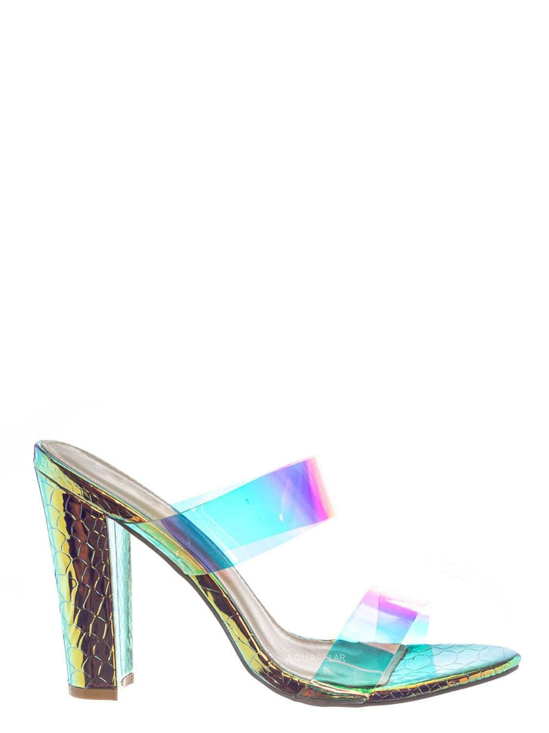 Gold / Kimberly5 Iridescent Clear Vinyl Sandal - Chunky High Heel Strappy Lucite Slides
