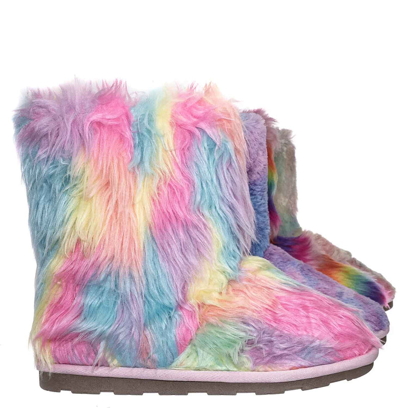 Alice Colorful Faux Fur Mukluks - Rainbow Winter Fluffy Slipper Boots