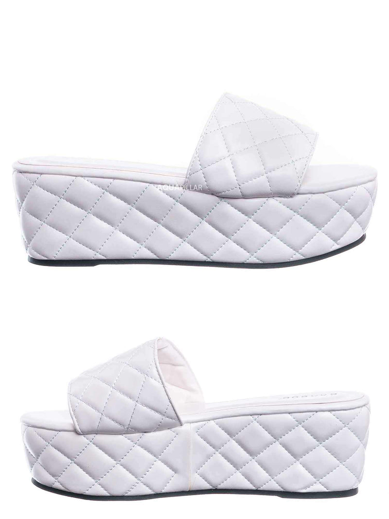 White / Purchase23 Quilted Flatform Slipper Mule - Platform Diamond Stitch Slide Sandals