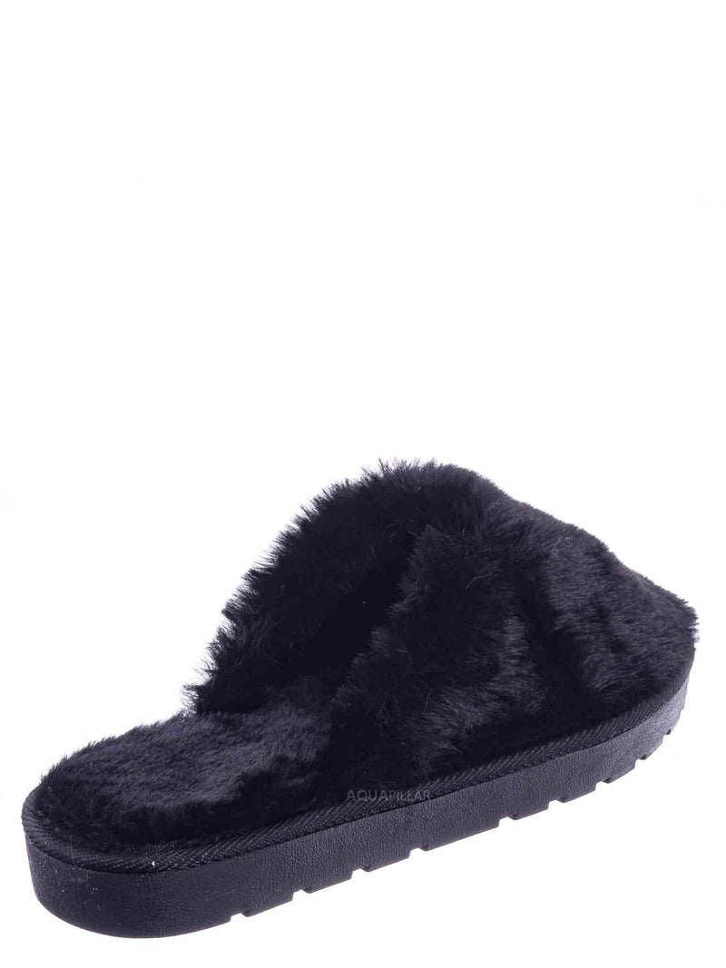 Black / Snuggle07 Furry Flatbed Slipper Mule - Mukluk Winter Slip On For Men & Women