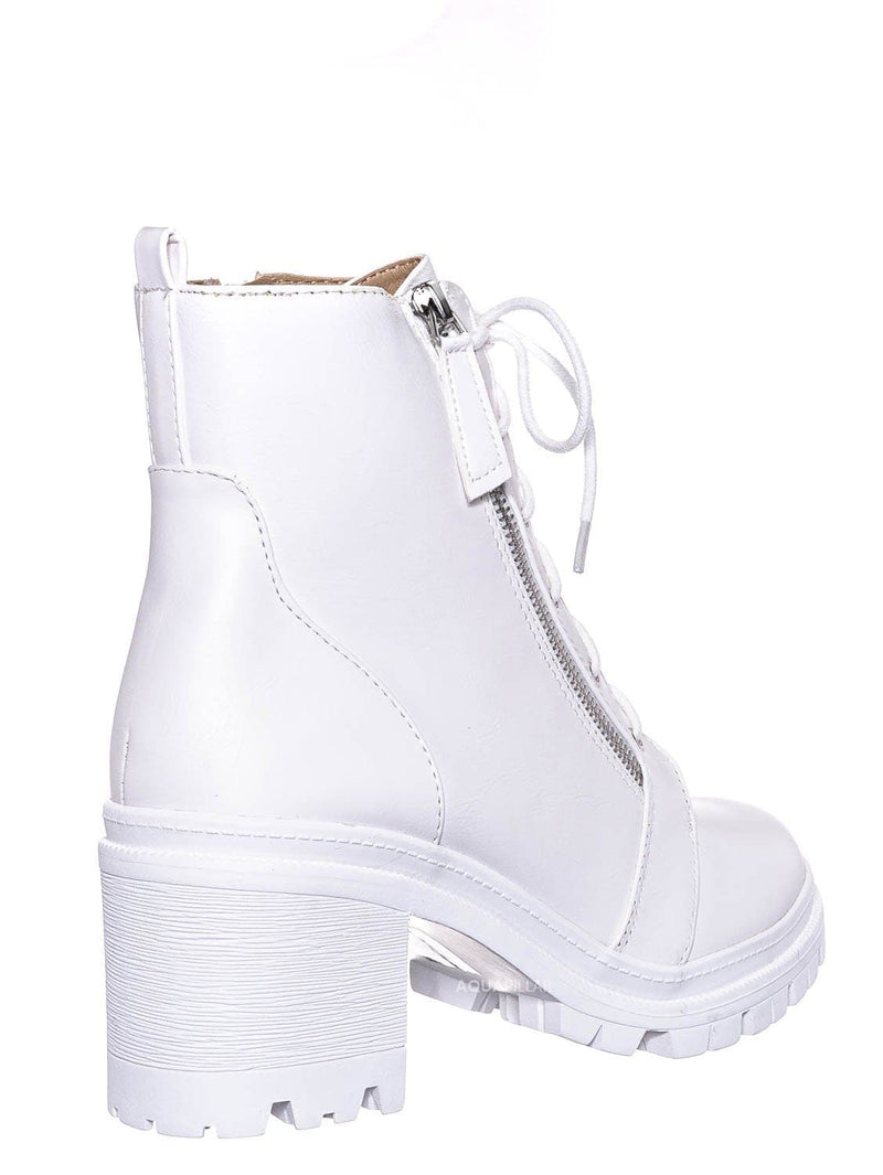 White / Indiana Lace Up Combat Bootie - Threaded Lug Sole Chunky Block High Heel