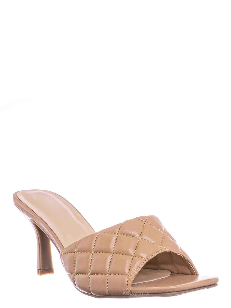 Camel Beige / Bora66 High Quilted Mule - Womens Slide In Diamon Puffy Slipper