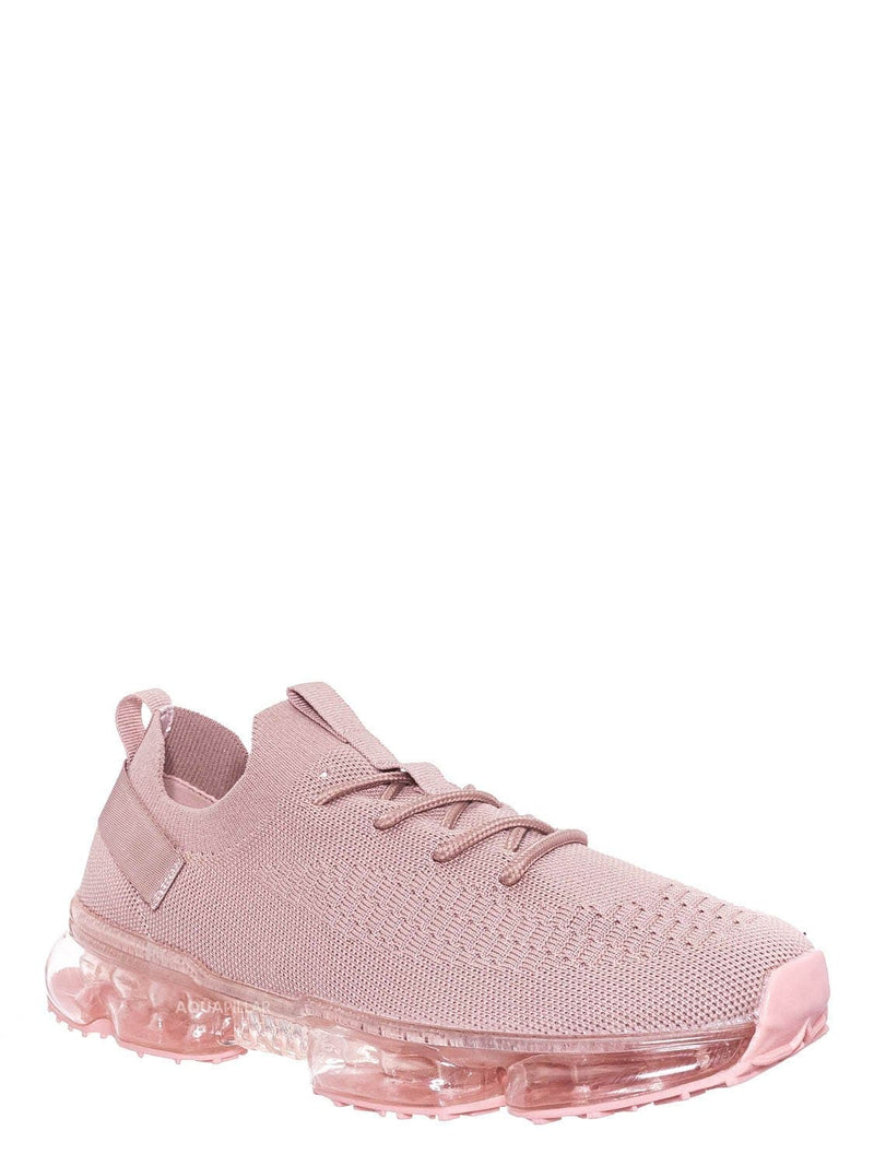 Mauve Pink / Flow19 Stretch Elastic Mesh Sneaker - Festival Lace Up Rubber Air Bubble Cushion