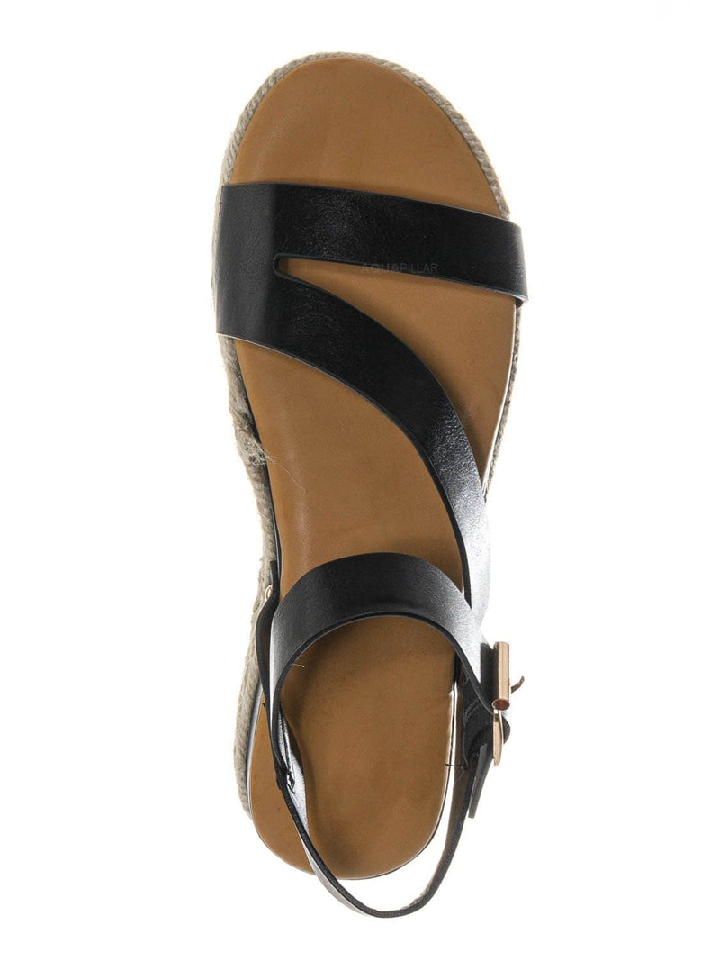 Black Bnh / Leading03 Gladiator Strappy Espadrille Flatform - Platform Wedge Open Toe Sandal