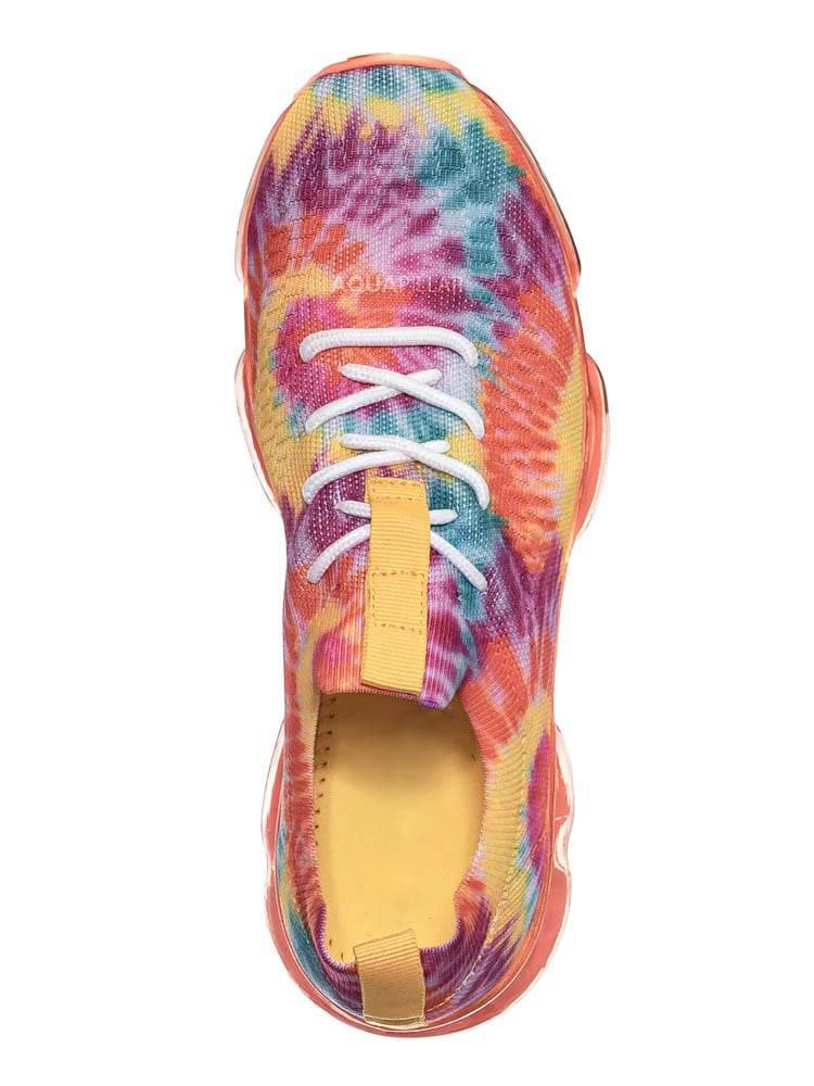 Orange Tie Dye / Flow19 Stretch Elastic Mesh Sneaker - Festival Lace Up Rubber Air Bubble Cushion