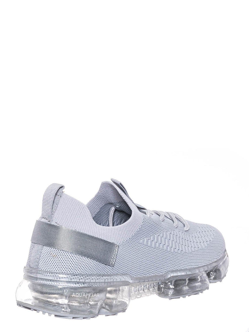 Silver Gray / Flow19 Stretch Elastic Mesh Sneaker - Festival Lace Up Rubber Air Bubble Cushion