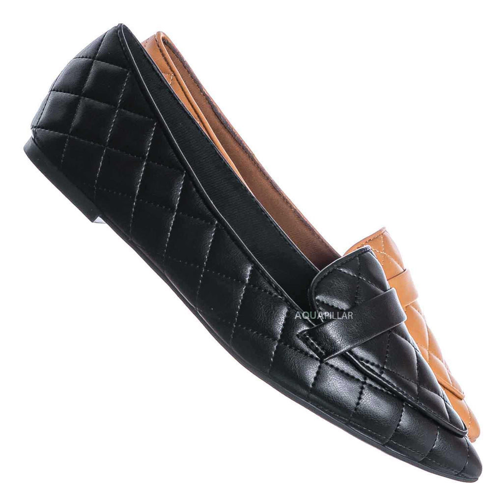 Black / Justify80 Pointed Toe Quilted Loafer - Comfortable Ballet Padded Flat Shoes