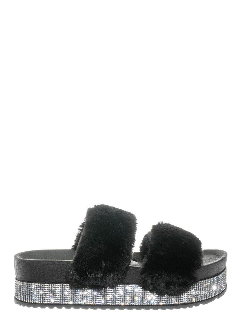 Black Fur / Nighttime03 Furry Rhinestone Flatform - Flat Platform Molded Footbed Slipper