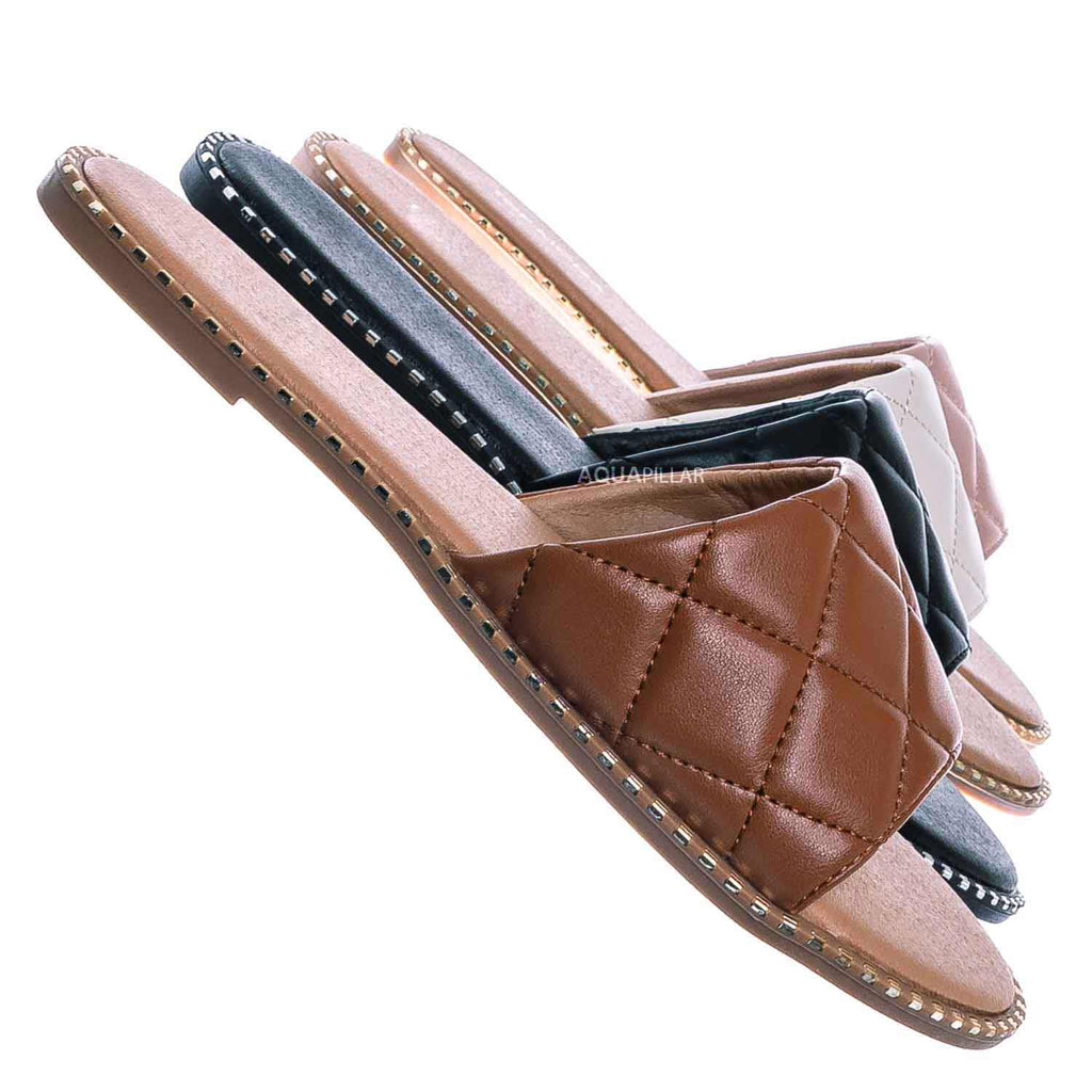 Tan Brown / Mick1 Matelassé Quilted Sliders w Metal Stud Welt - Stitch Punk Rock Slipper