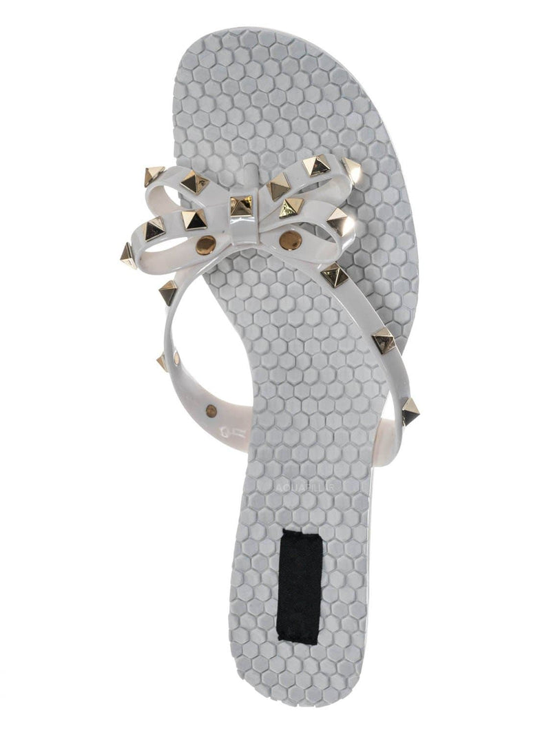 White / Evon02 Lightweight High Heel Slipper - Lucite Jelly Bow Strap Pyramid Studs
