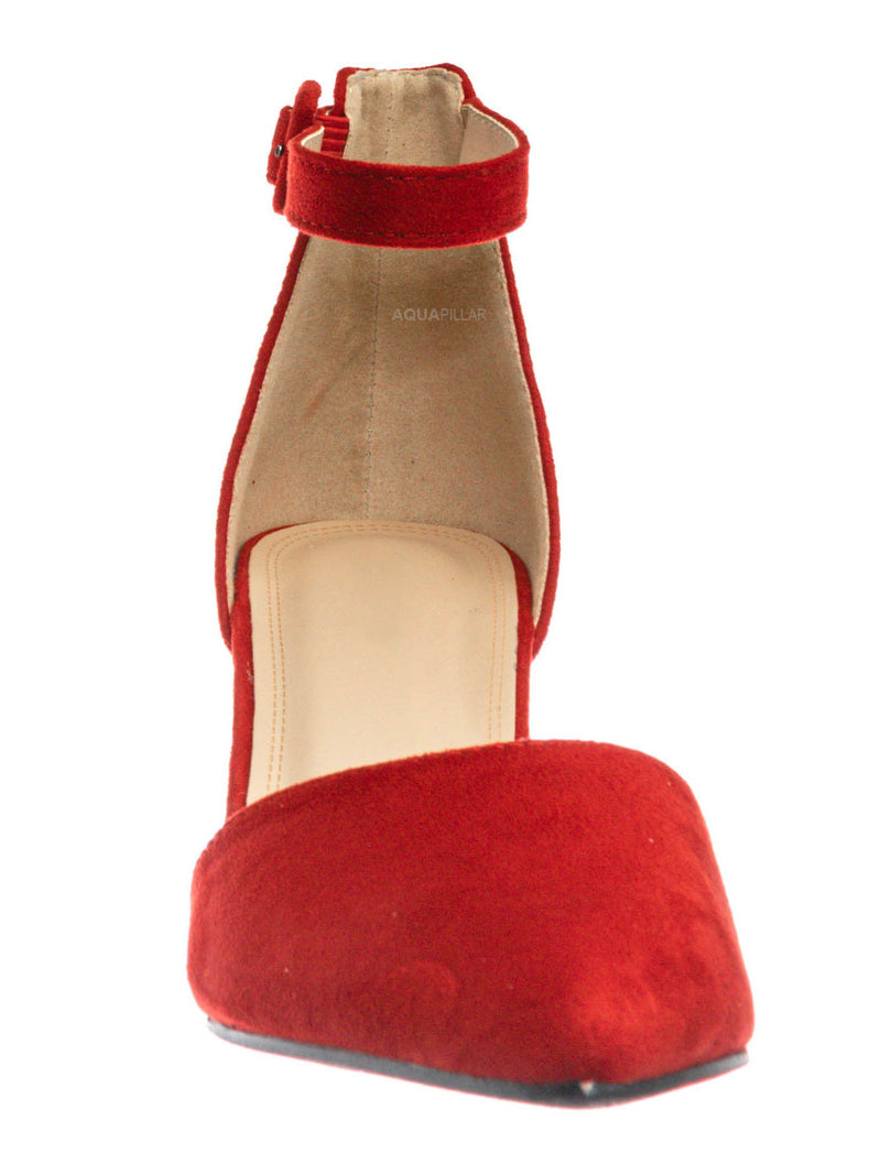 Red F-Suede / Nataly01 Low Block Heel d'Orsay Pump - Pointed Toe Two Piece Office Dress Shoes