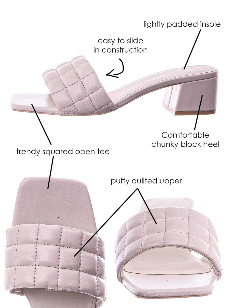 White / Byway Puffy Quilted Block Heel Mule - Women's Open Squared Toe Retro Slides