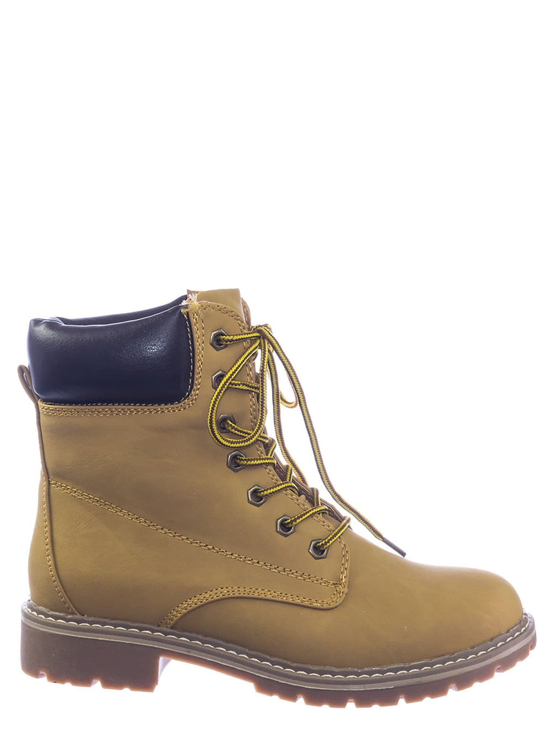 Camel Brown / Broadway3 Military Fashion Combat Boots - Lace Up Threaded Lug Sole Ankle Bootie