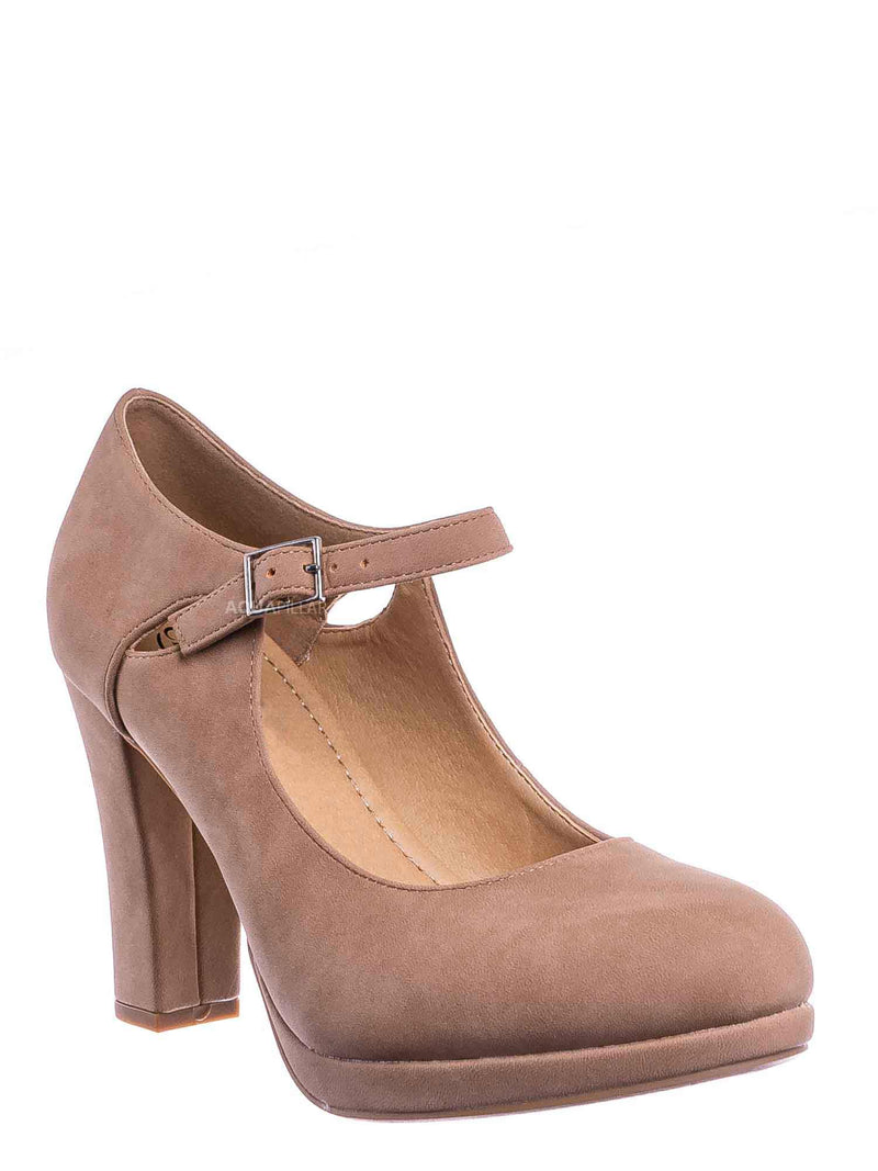 R Taupe Nubuck / Denny Foam Padded Mary Jane Dress Pump -Women Chunky Block High Heel Office Shoe