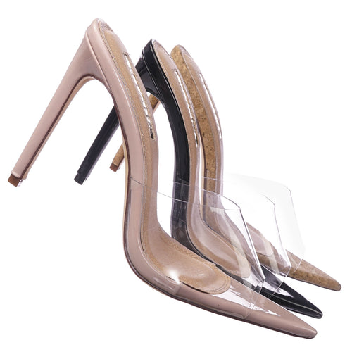 Laurent3 CorkPu Clear Transparent High Heel Mule Pointed Open Toe, Women Lucite plastic
