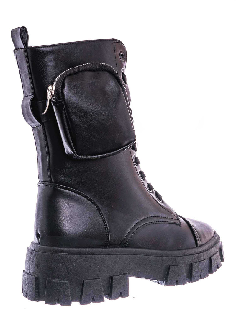 Tall Black / Staging09 Utilitarian Combat Biker Boots W Add On Purse Pocket Pouch