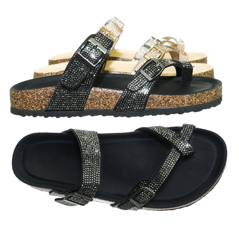 Black Pu / Berk03 Black Pu Rhinestone Molded Footbed Sandal - Women Crystal Slide In Contour Insole