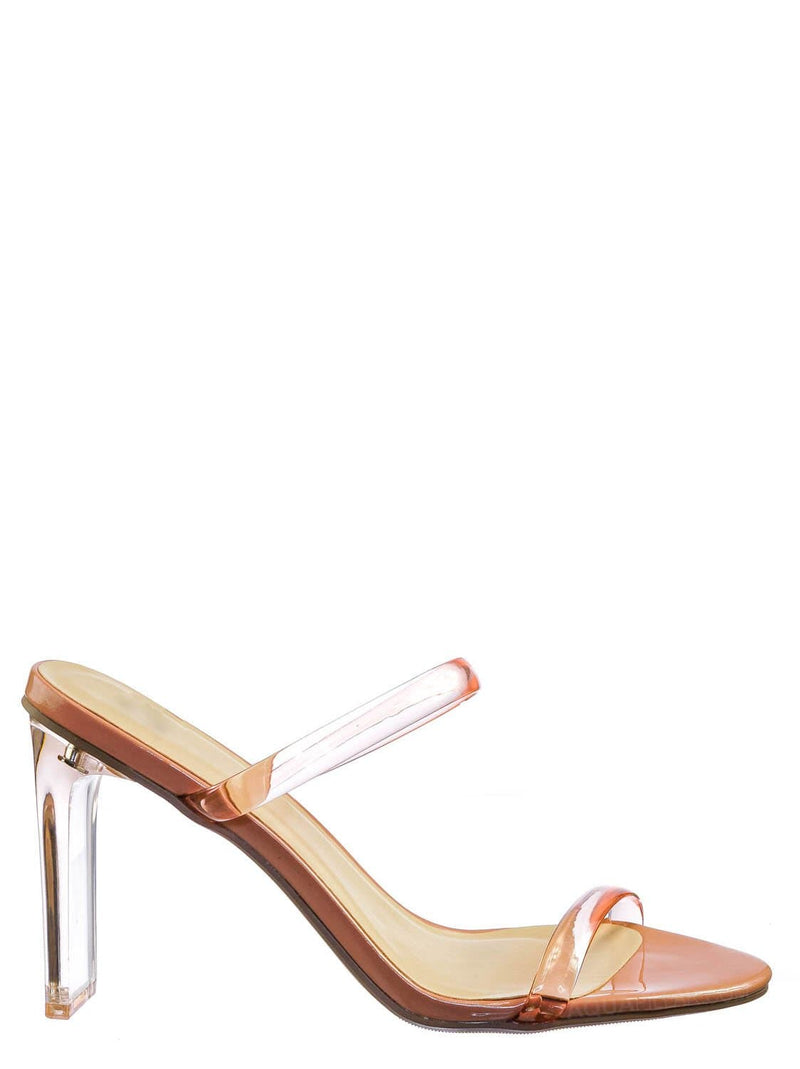 Rose Pink / Linger Lucite Transparent Acrylic Heel Sandal - Womens Clear Double Strap Shoes