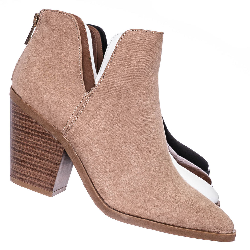Camel Beige / Upstream01 Block Heel Side Cutout Bootie - Womens Double V-Cut Ankle Boots